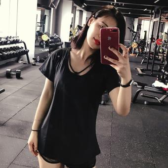 Longgar Perempuan Berjalan Kemeja T-shirt Pakaian Workout Cepat Kering Pakaian (Hitam) (Hitam)