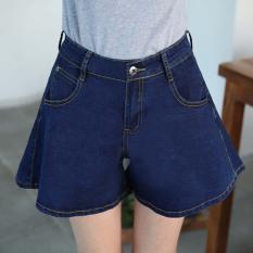 Longgar Terlihat Langsing Kata Celana Rok Mini Pinggang Tinggi Kulot (Biru)