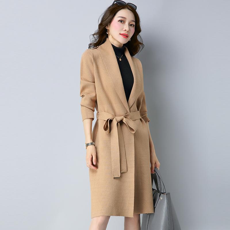Longgar warna solid bagian panjang renda mantel yard besar jaket cardigan (0222 Camel)