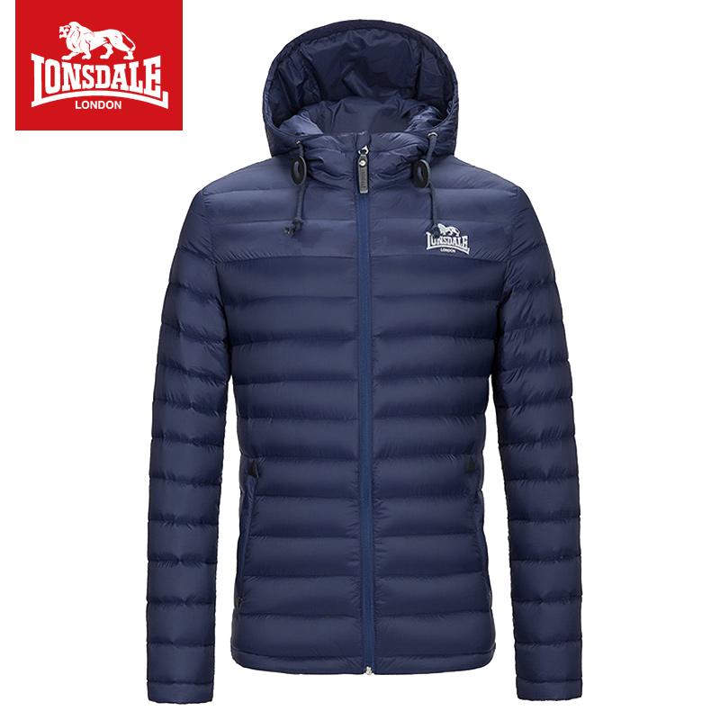 LONSDALE musim gugur dan musim dingin berkerudung jaket pria jaket (Biru tua)