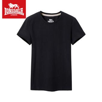 LONSDALE warna solid perempuan baru tipis kemeja t-shirt bottoming kemeja (Hitam)
