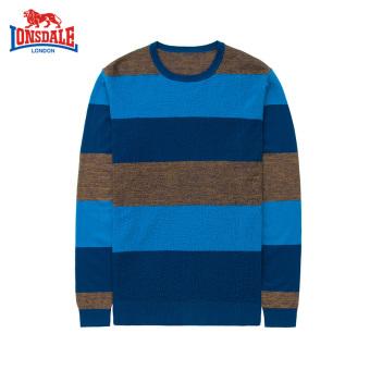 LONSDALE Wol Musim Gugur Produk Baru Muda Merajut Kemeja Sweter Pria Wol Kemeja (Biru Tua Bergaris)