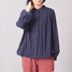 LOOESN Autumn baru tipis bergaris cardigan Korea Fashion Style kemeja (Biru tua)