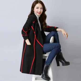 Hot Deals LOOESN baru wanita ukuran besar bergaris sweater dan bagian panjang cardigan (Biru tua-merah) Bandingkan Toko