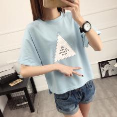 LOOESN college style New style short sleeved t-shirt (Cahaya biru)