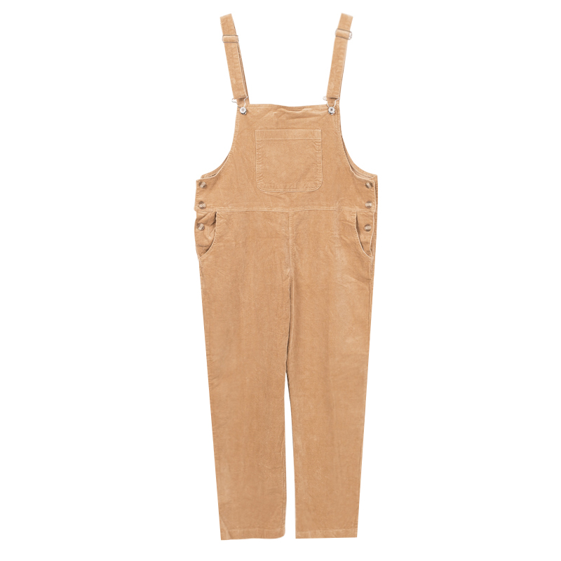LOOESN college style wick velvet female student one-piece pants suspender pants (Khaki)