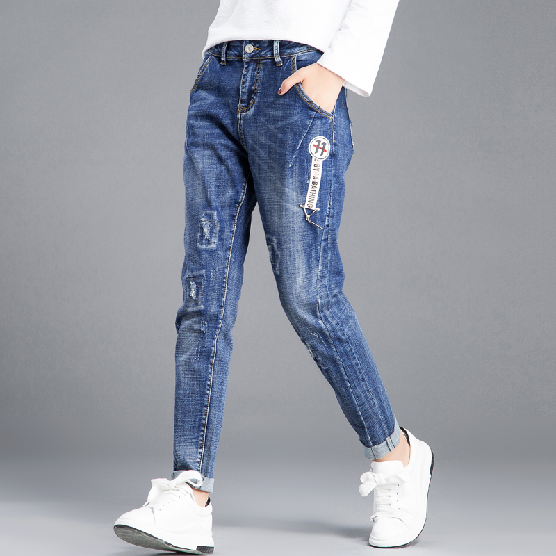 Flash Sale LOOESN female spring New style ankle-length pants jeans (Biru)