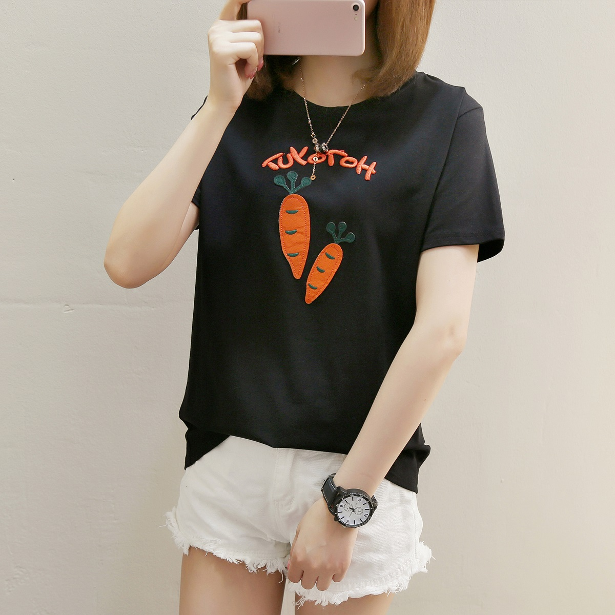 Flash Sale LOOESN indie female on the short sleeved t-shirt Korean-style Top