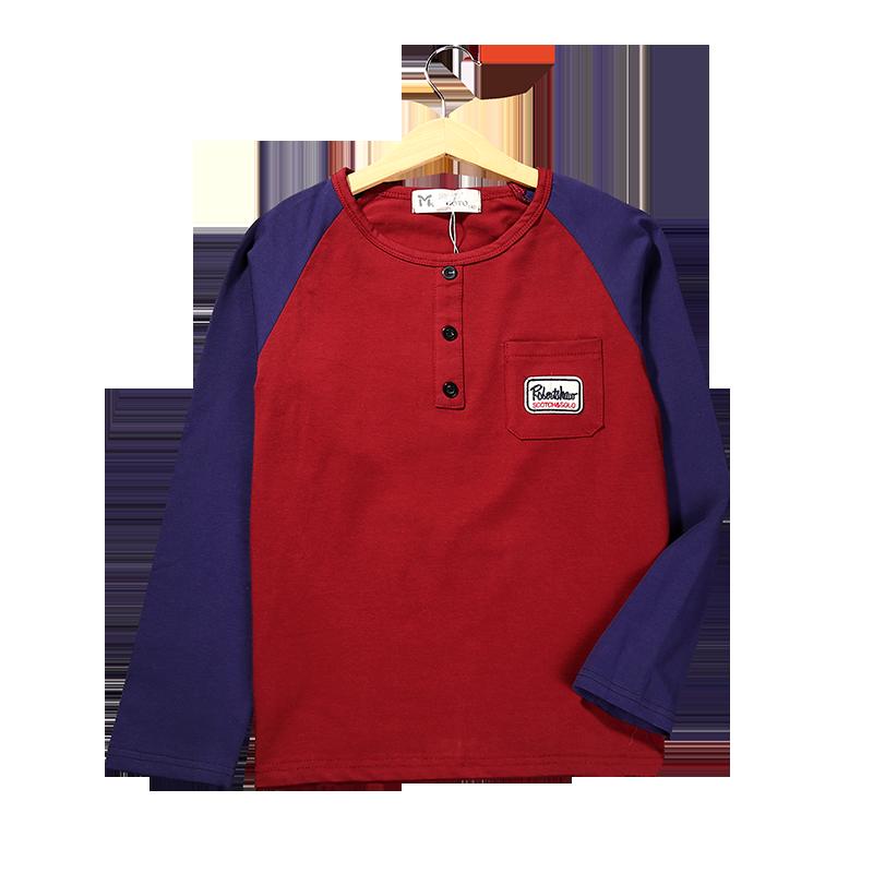 ... Laki Source · LOOESN kapas musim semi dan musim gugur anak bottoming kemeja t shirt Keunguan merah
