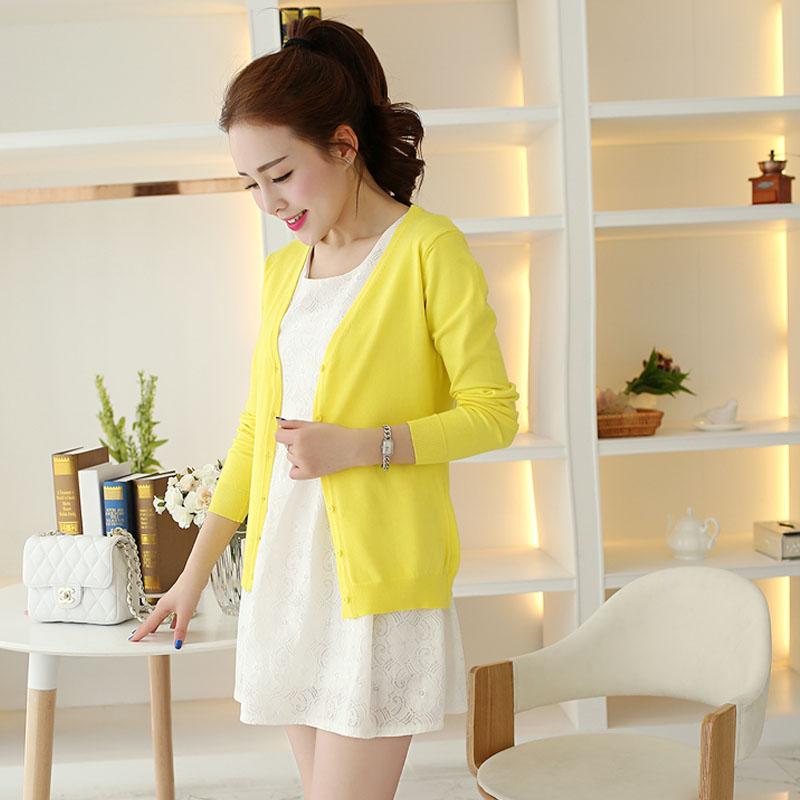 LOOESN Korea AC perempuan tipis musim semi jaket kardigan rajutan sweater ( Kuning lemon)