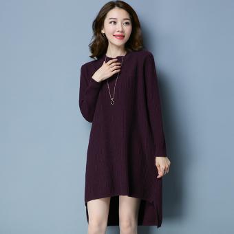 Harga Penawaran LOOESN Korea Fashion Style baru perempuan bagian panjang merajut sweater (Ungu) Harga