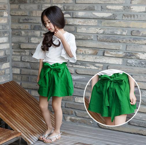 LOOESN Korea Fashion Style linen baru celana pendek celana pendek anak perempuan (Hijau)