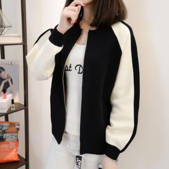 Bandingkan Toko LOOESN Korea Fashion Style perempuan musim semi dan musim gugur baru cardigan bisbol seragam (Hitam) Pencarian Termurah