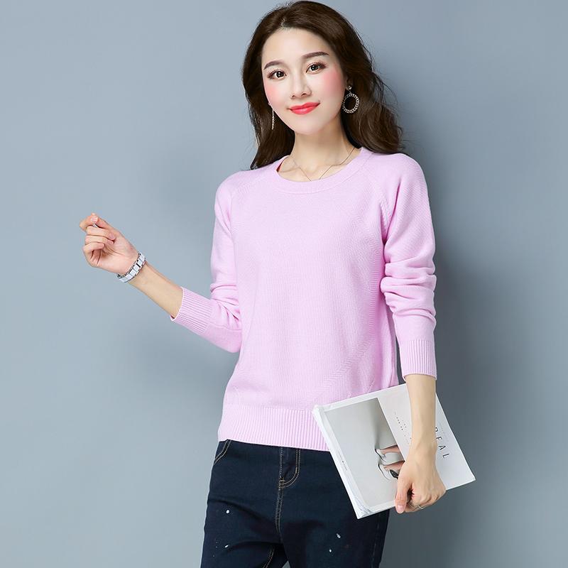 LOOESN Korea Fashion Style pullover musim gugur baru warna solid lengan panjang sweater sweater (TBY1911