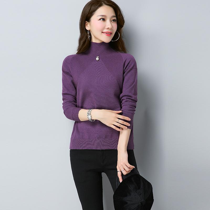 LOOESN Korea Fashion Style warna solid manik-manik kerah tinggi merajut sweater bottoming kemeja (