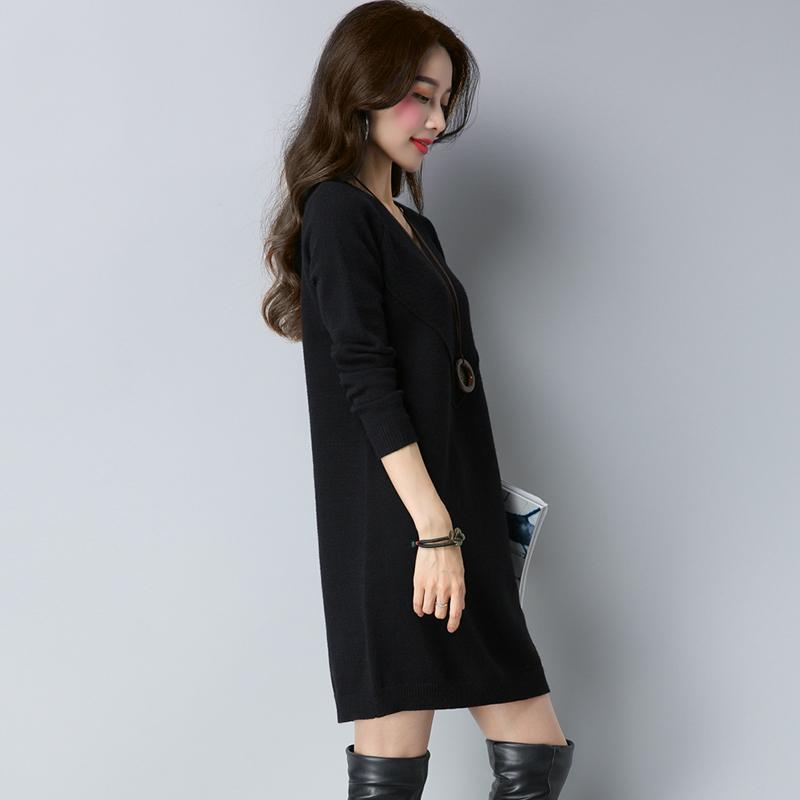 LOOESN Korea Fashion Style warna solid ukuran besar lindung nilai lengan panjang kemeja sweater (Hitam