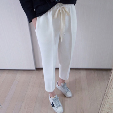 LOOESN Korean-style female spring New style ankle-length pants casual pants (Putih