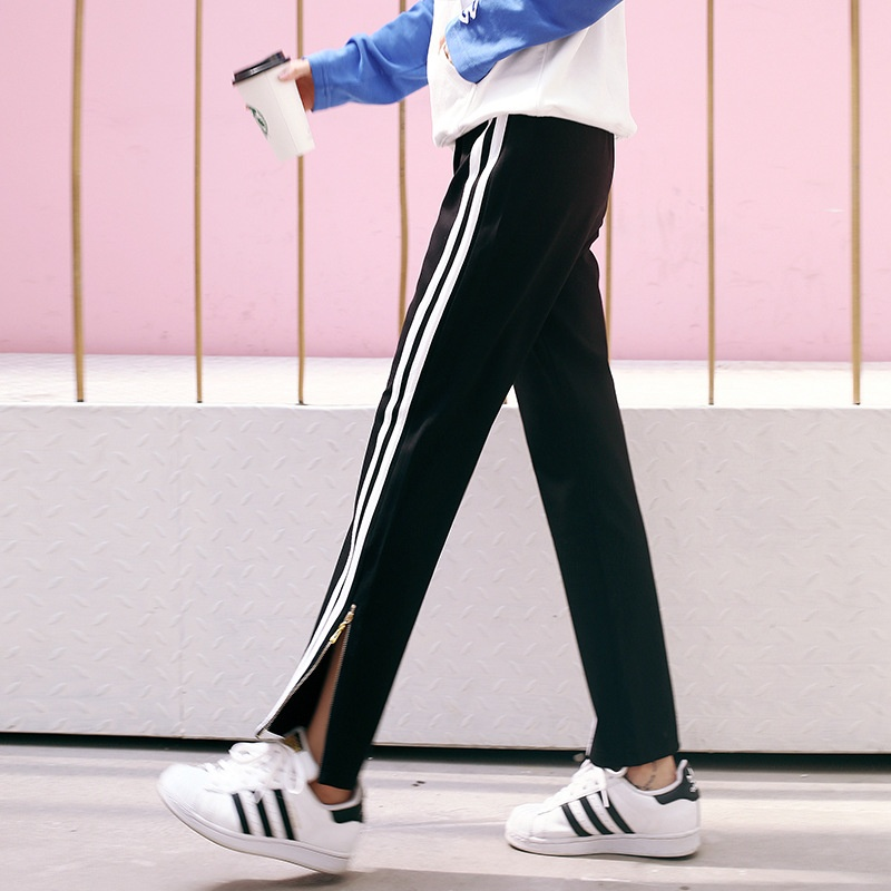 Claoexan B737 Korean Style Vertical Striped Harem Pants Spring Source · LOOESN Korean style spring Plus sized striped ankle length pants Hitam