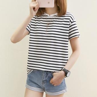 271 Ikan Oranye LOOESN Korean style women s striped Top versatile short sleeved .