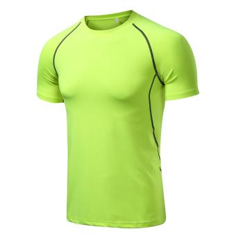 LOOESN laki-laki cepat kering bernapas kemeja cepat kering kebugaran lengan pendek t-shirt (LOOESN-hijau lengan pendek)