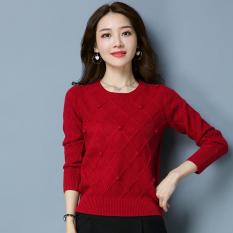 LOOESN merajut perempuan yard besar leher bulat kemeja pullover sweater (YXY9625 merah)