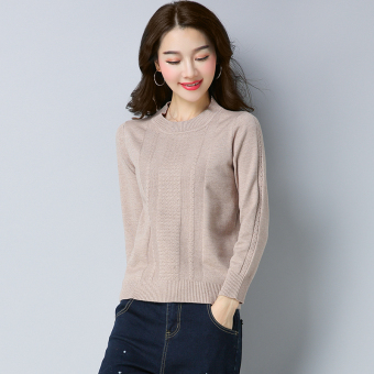 Anggaran Terbaik LOOESN merajut pullover perempuan bottoming kemeja Korea Fashion Style sweater (MS507 beige)