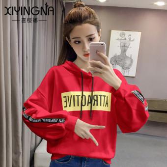 Harga baru LOOESN musim gugur dan musim dingin huruf baru dicetak berkerudung sweater (Merah)
