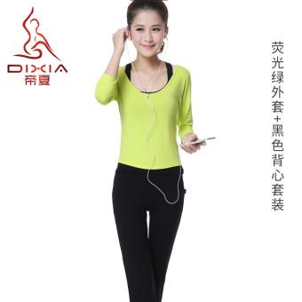 LOOESN perempuan baru musim panas pakaian yoga pakaian yoga pakaian yoga (Neon hijau tiga potong)