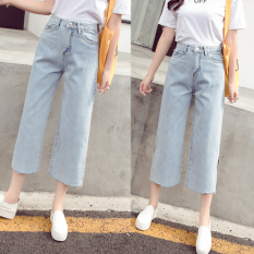 LOOESN versatile female New style fork ankle-length pants cowboy wide leg pants (Cahaya
