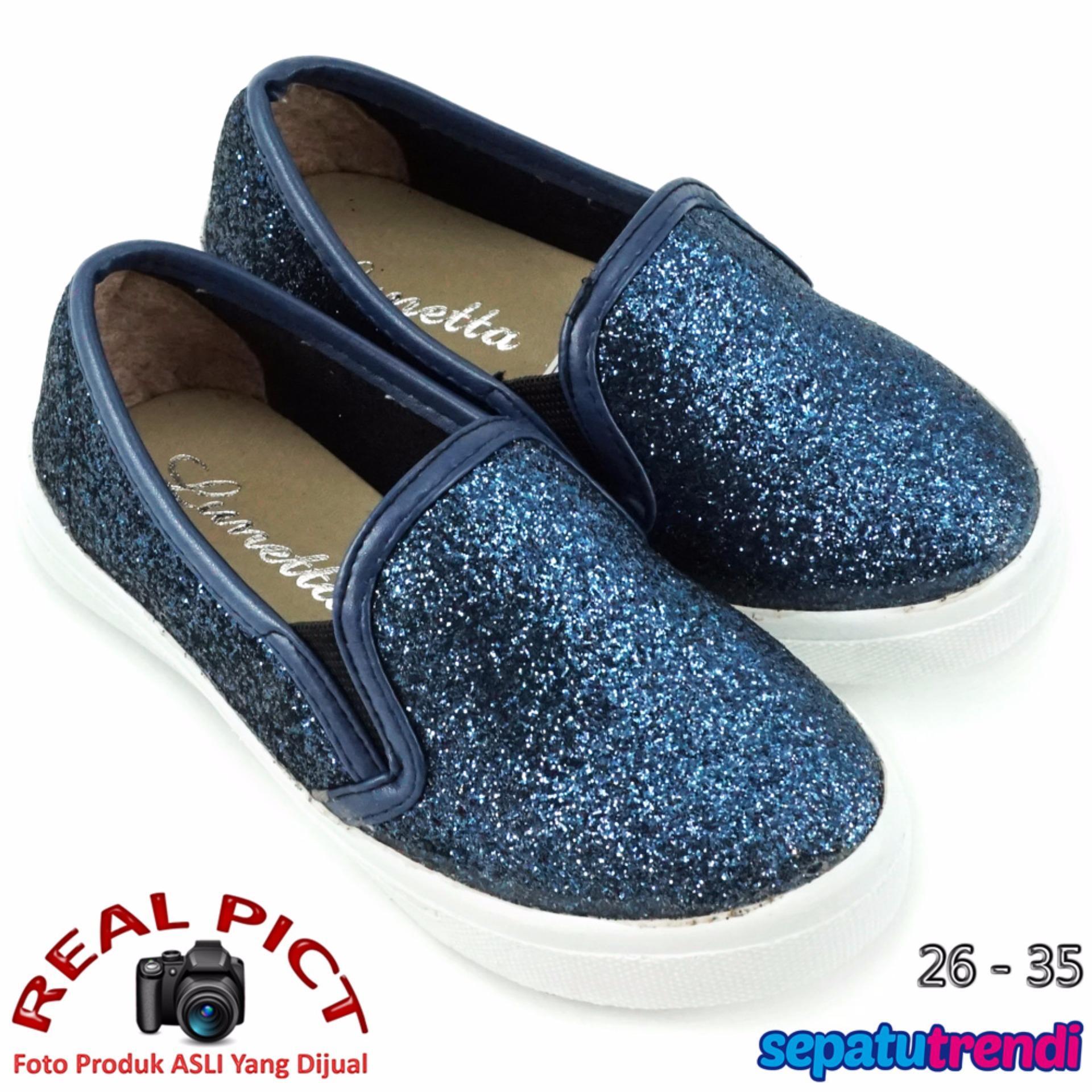 Lunetta Sepatu Anak Perempuan Slip On Diamond Dust FPS - Navy .