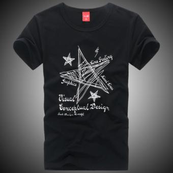 Lycra leher bulat pria lengan pendek t-shirt (Lima baris pendek B-27