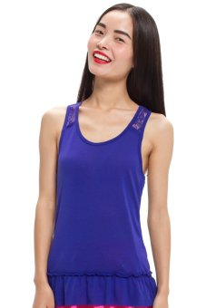 LZD Racerback Top With Frill Hem - Blue
