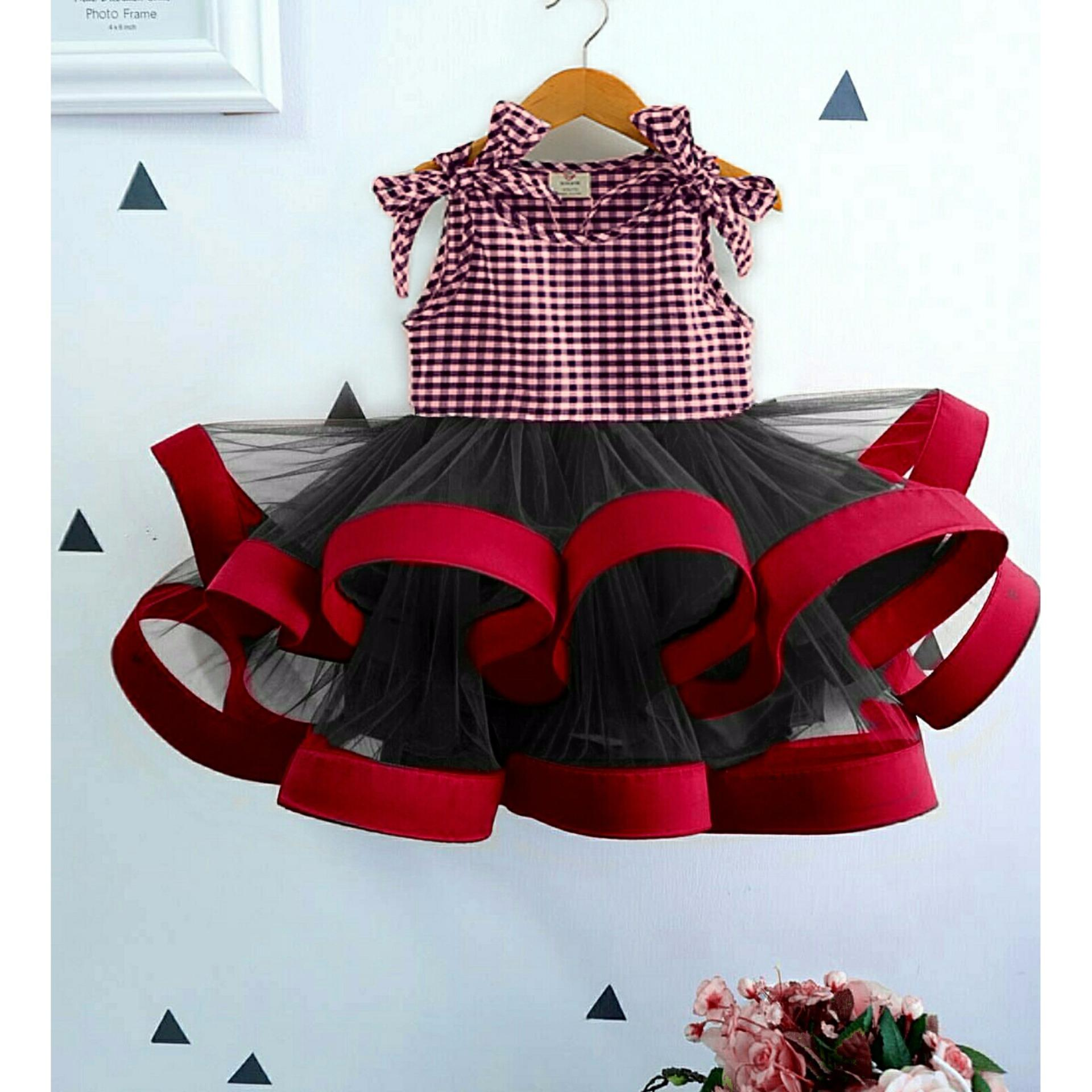 M J Dress anak ribbon Square Kids - Kotak
