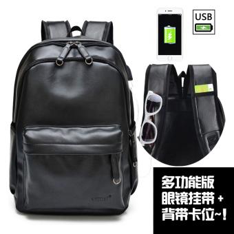 Mahasiswa kasual tas kulit tas komputer perjalanan pria tas bahu (Ganda ganda ritsleting multifungsi hitam