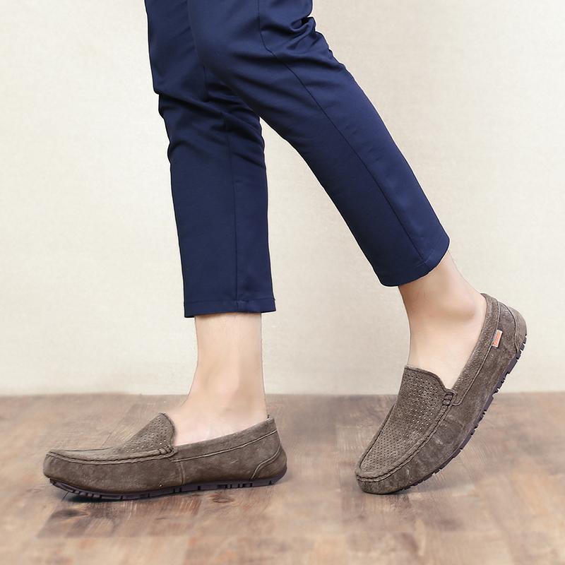 Malas British kulit musim gugur dan musim dingin dari pedal pria sepatu Peas sepatu (Model