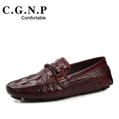 Malas fashion kulit pria menginjakkan kaki British sepatu kasual Peas sepatu (Anggur merah)