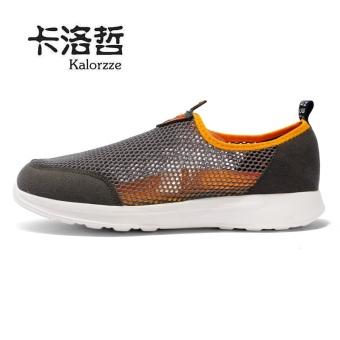 Harga Malas Korea Fashion Style jala sepatu olahraga sepatu casual (Model laki-laki + Abu-abu gelap) Ori