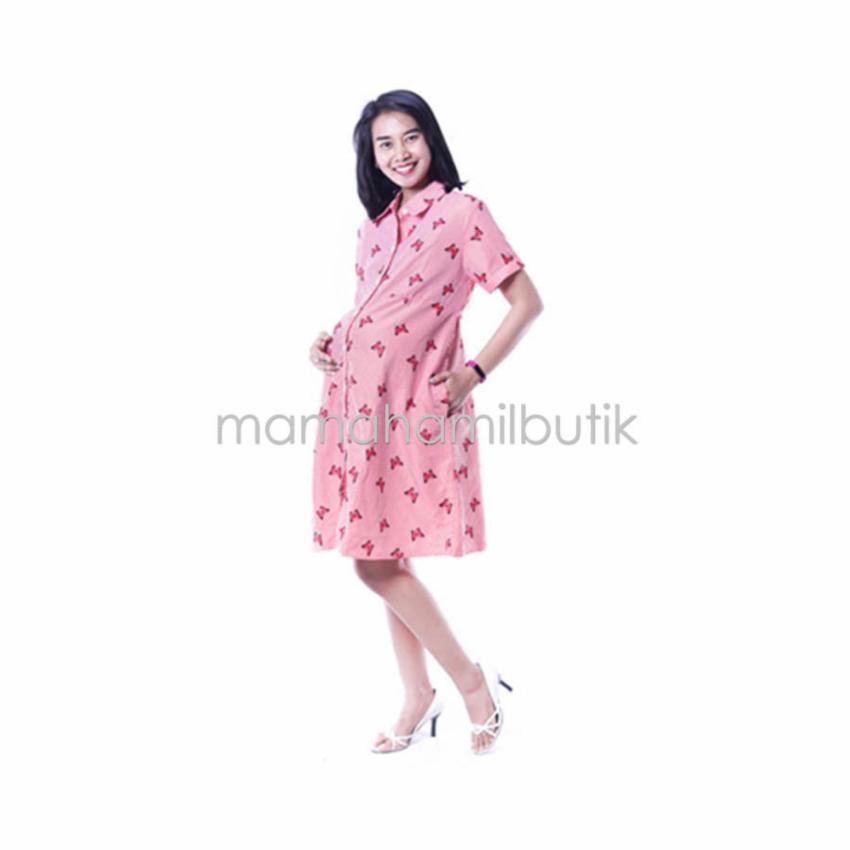 Mama Hamil Baju Hamil Dress Hamil Menyusui Kupu-Kupu Dress Full Kancing .