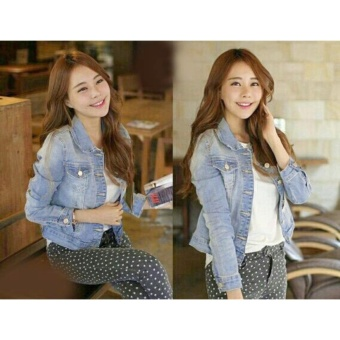 mamamia collection - jaket jeans wanita lepis biru muda