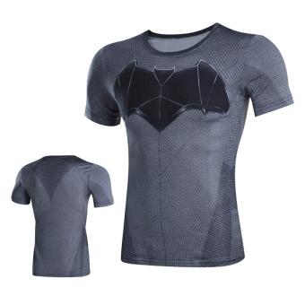Man Wei laki-laki lengan pendek kebugaran t-shirt legging pakaian (Batman 01 lengan pendek)