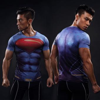 Man Wei laki-laki lengan pendek kebugaran t-shirt legging pakaian (Biru Superman lengan pendek)