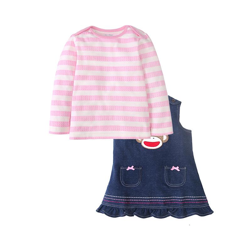 Manis anak-anak baru gaun gadis denim dress tali (Lengan panjang t-shirt