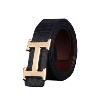 Man's H Letter Buckle Genuine Leather Casual Belt MBT1607-4 blue