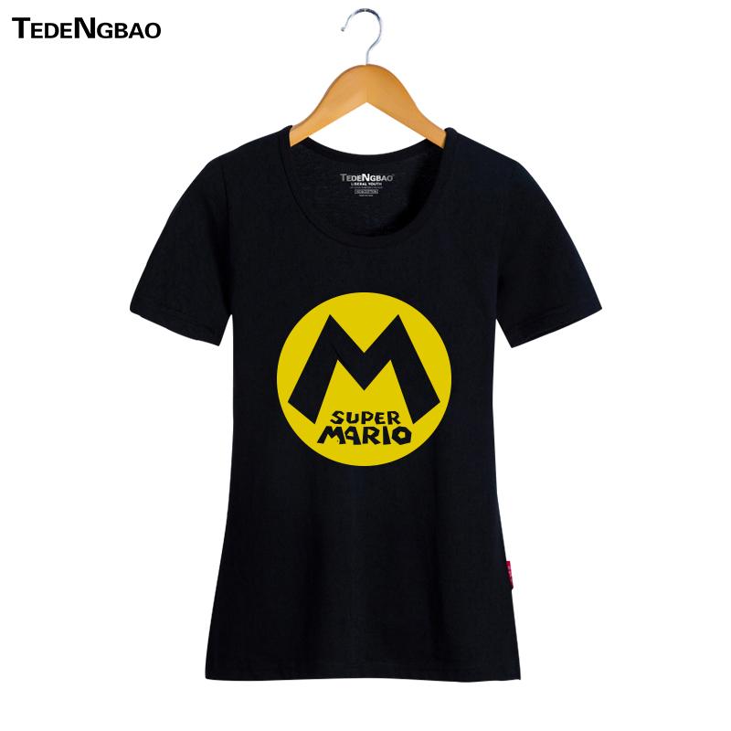 Cheap online Mario kartun katun leher bulat lengan pendek t-shirt mode pasang Yeguang bottoming