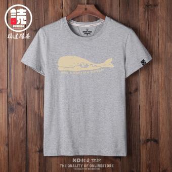 Gambar Masuknya laki laki dan laki laki Jepang musim panas ikan paus cetak t shirt (