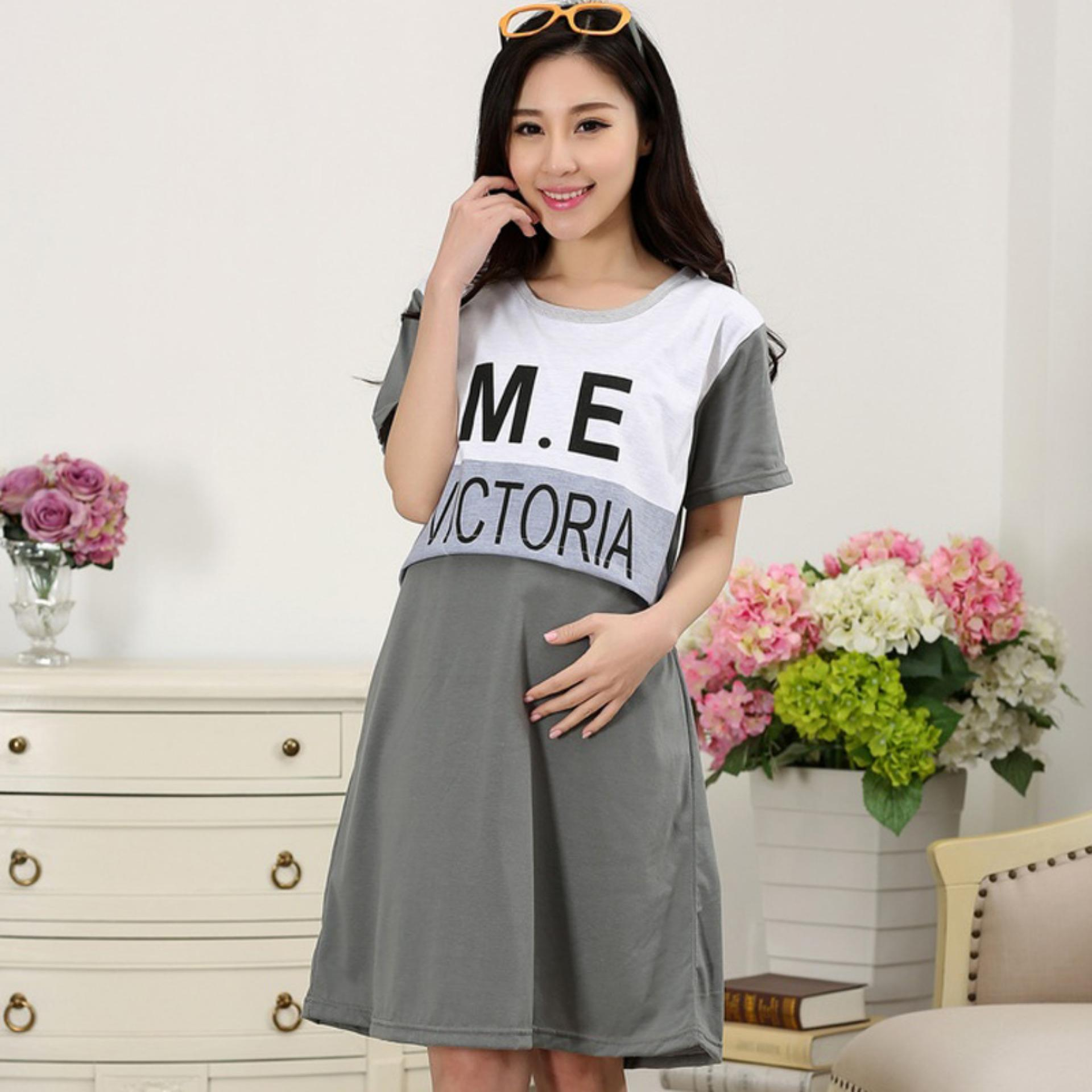Maternity Dresses Pregnant Women Dress Short Sleeve Postnatal Breastfeeding Clothes - intl