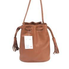 Mazuya HM Sling Bag Mini Serut Tas Wanita Pesta Selempang Bucket Bag - Cokelat