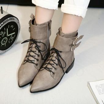 Terbaik Murah medium heels woman combat boots lace up motorcycle boots women's winter booties female pointed toe short boots(grey) - intl Harga Terendah