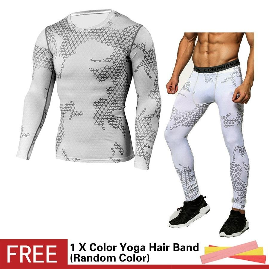 ... Men Compression Sports Suit Camouflage Print Elastic Tights Skins Base Layers T Shirt+Quick Dry ...