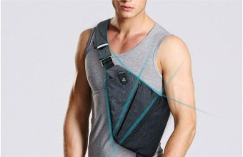 Men's Sling Shoulder Crossbody Chest Bag Pack - Right Hand(Bag on left Side) - intl